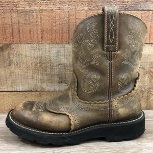 Ariat brown leather fat baby round toe short boots